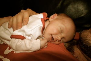 Sleeping on Dad is one of my favourite things to do!