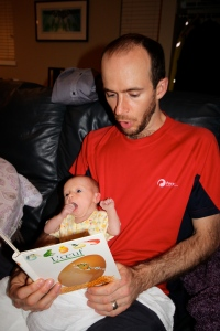 Dad reading me my first book in French. I find it a little dull but that's probably because I'm only 2 weeks old!