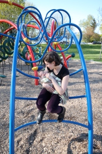 First trip to our neighbourhood park. I'm not ready for the monkey bars just yet. Although Mom & Dad often think I'm being a monkey!