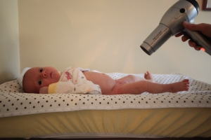"The hairdrier: making diaper changing a ""breeze"" instead of a fight!"