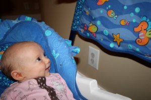 Mommy & Daddy want me to smile for them but the ceiling, the blinds, starfish & seahorse are my best friends.