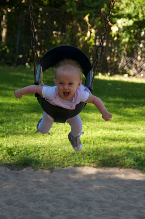 The swing is the best. The higher the better!