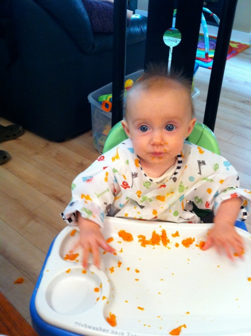 Baby-led weaning = food everywhere except the mouth.